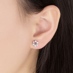 Simple Silver and CZ Flower Earrings